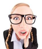 Rolig affärskvinna koncept, fish eye lins porträtt — Stockfoto