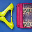 Colorful high heels and snakeskin print bag - Stock Photo
