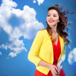 Colorful portrait of a beautiful happy young woman — Stockfoto