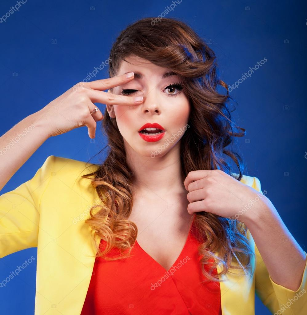 Colorful portrait of an attractive young woman — Stock Photo #18885731