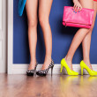 Two girls wearing high heels waiting at the door — Stock Photo #19815929