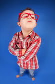 Funny portrait of a five years old sulky boy — Stock Photo