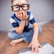 Little boy with laptop computer — Stock Photo #21043121