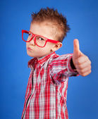 Cool five years old boy showing ok sign — Stock Photo