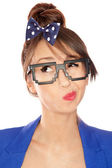 Nerdy thoughtful young brunette woman wearing 8 bit glasses — Stock Photo