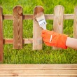 Painting wooden fence - Foto Stock