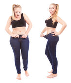 Prima e dopo una dieta, ragazza sorpreso — Foto Stock