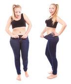 Przed i po diecie zaskoczona dziewczyna — Zdjęcie stockowe