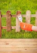 Schilderij van houten hek — Stockfoto