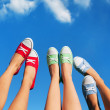 Walking on the sky, summer and friendship concept — Stock Photo #28729227