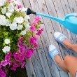 Stock Photo: Womwatering flowers on patio deck