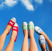 Walking on the sky, summer and friendship concept — Stock Photo