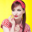 Cheerful pin up girl - retro style portrait — Stock Photo