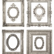 Set of ornamental silver frames — Stock Photo