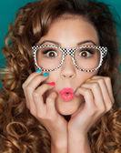 женщина носить очки — Стоковое фото