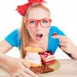 Woman eating dessert — Stock Photo #38609585