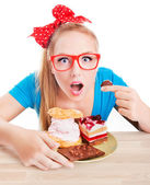 Woman eating dessert — Stock fotografie