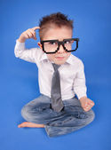 Six years boy wearing geek glasses — Stock Photo