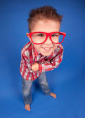 Funny five years old boy wearing glasses — Stock Photo