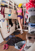 Woman after shower in walk in closet — Stok fotoğraf