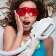 Woman getting laser face treatment — Stockfoto