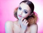 Woman with professional party make up false eyelashes — Stock Photo