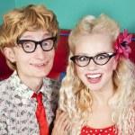 Happy nerdy couple — Stock Photo #8660558