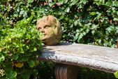 Stone head in garden — Stock Photo