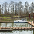 Stock Photo: White sailboat moored in river, Oregon.