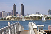 Twin towers on San Diego skyline California. — Stock Photo