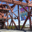 The Broadway bridge infrastructure Portland OR. — Foto Stock