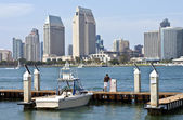 San Diego skyline and a small marina. — Stock Photo