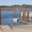 Stock Photo: Boat launch pads and steel poles Oregon state parks.