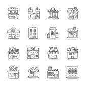 Hand drawn Building icon set — Stock Vector