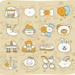 Hand drawn,doodle baby icon set — Vector de stock