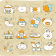 Hand drawn,doodle baby icon set — Stock Vector