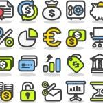 Finance,bank,busine ss icon set — Stock Vector