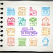 Hand drawn houses, buildings,store ,travel icons, — Stock Vector