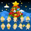 Christmas tree & baby angels — Stock Vector #40867777