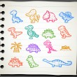 Dinosaur icon set — Stok Vektör #40868079