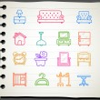 Furniture icon set — Vector de stock #40868329