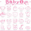 Hand drawn Baby icons — Stock Vector #40868633
