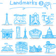Stock Vector: Hand drawn landmark icons