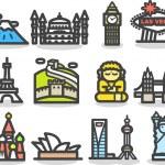 Travel,landmarks icon set — Stock Vector