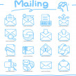 Hand drawn mailing ,communication icon set — Stock Vector