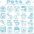 Pet animals and objects icon set — Stock Vector #40869285