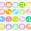Pet animals and objects icon set — Stock Vector
