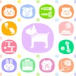 Animals and objects icon set — Stock Vector