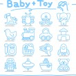 Toy,baby icon set — Vector de stock