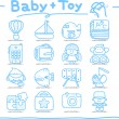 Toy,baby icon set — Stok Vektör